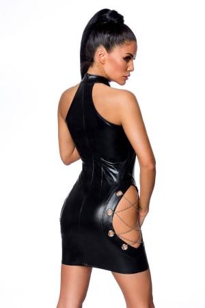 Women's Black Leather Chain Detailed Fancy Dress