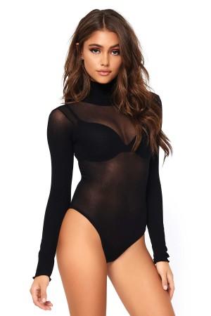 Women's Black Tulle Long Sleeve Transparent Body
