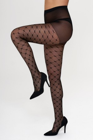 Women's Black Baklava and Rose Patterned Tights
