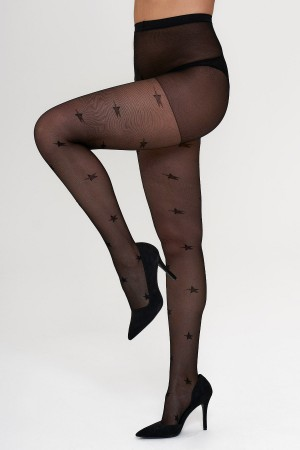 Women's Star Patterned Black Tights