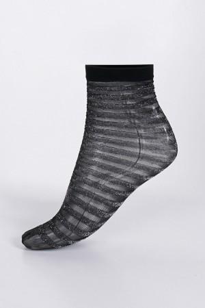 Women's Striped Black Glittery Cleat Socks