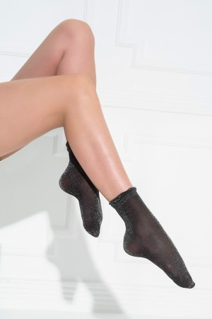 Women's Glittery Black Socks