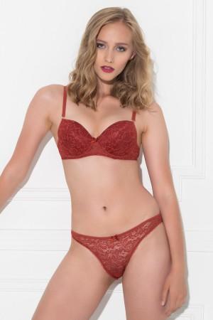Women's Claret Red Bra Set
