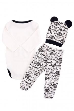 Baby Boy Badi 3-Piece Suit Panda Printed Black
