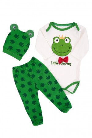 Baby Boy Badi 3-Piece Suit Frog Printed Green