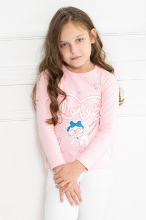 Girl's Heart Patterned Long Sleeve Tshirt 5-9 Years