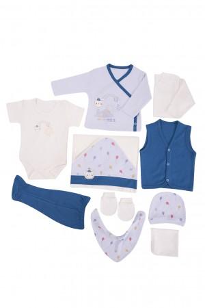 Newborn Baby Boy Set 10 Pieces Printed Blue