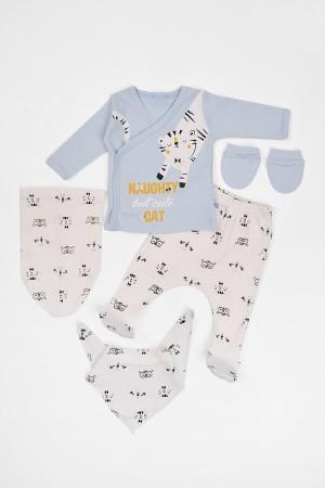 Baby Baby Set of 5 Newborn Tiger Printed Blue