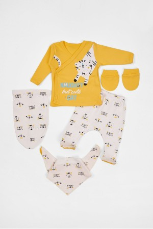 Baby Baby Set of 5 Newborn Tiger Printed Yellow