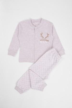 Baby Boy Pajamas Set Little Man Printed 3-6 Months Beige