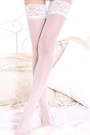 Women's White Lace Garter Stockings- 80762
