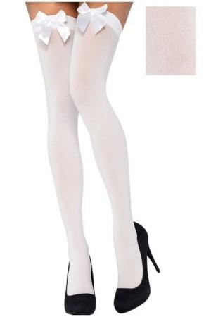 Women's Above Knee White Ribbon White Garter Socks-80577BB