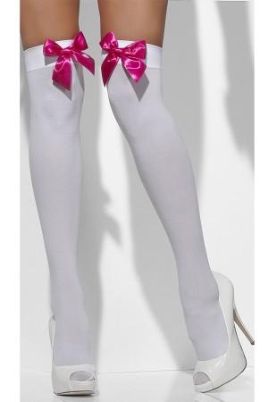 Women's Above Knee Fuchsia Ribbon White Garter Socks-80577BF