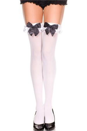 Women's Above Knee Black Ribbon White Garter Socks-80577SB