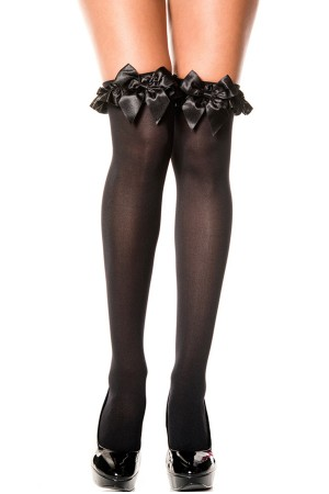 Women's Over The Knee Black Garter Stockings With Black Ribbon - 80577SS
