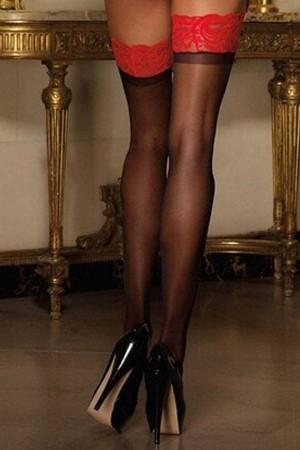 Women's Red Lace, Black Garter Stockings -80803