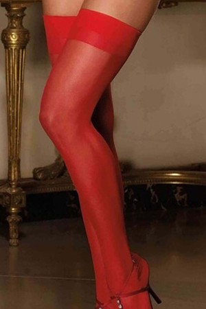 Women's Red Above Knee Long Garter Socks-80576K