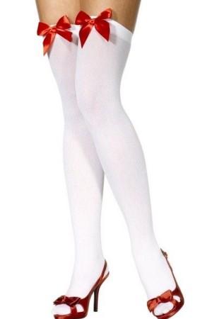 Women's Red Ribbon White Socks-80852BK