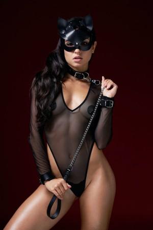 Women's Black Fancy Mask Leash & Handcuffs Set-071