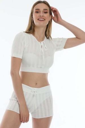 Knitwear Bustier White Suit - 800100