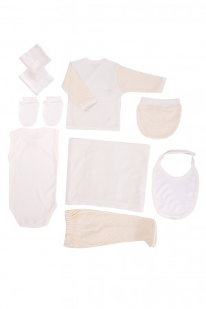 Newborn Baby Set 10 Pieces Bear Embroidered Unisex Baby Yellow