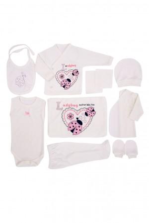 Newborn Baby Set 10 Pieces Baby Girl Ladybug Pink