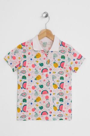 Girl Polo Neck Fruit Printed Tshirt 5-8 Years