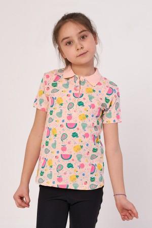 Girl Polo Neck Fruit Printed Tshirt