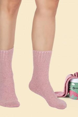 Fuzzy Pink Wool Socks