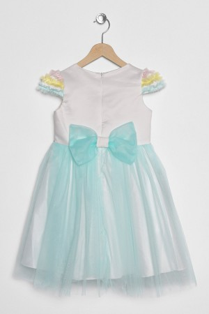 Girls Tulle Dress Crowned Unicorn Printed