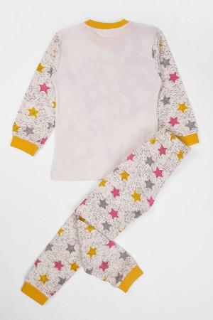Girls Pajamas Set Star Patterned Age 7-9 Yellow