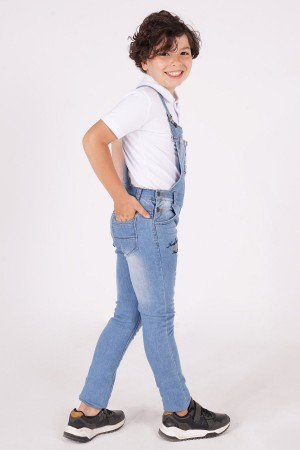 Boy's Trousers Salopet Ripped Embroidered -12 Years
