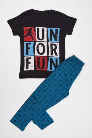 Boys Pajamas Set Run For Run Printed Ages 4-12