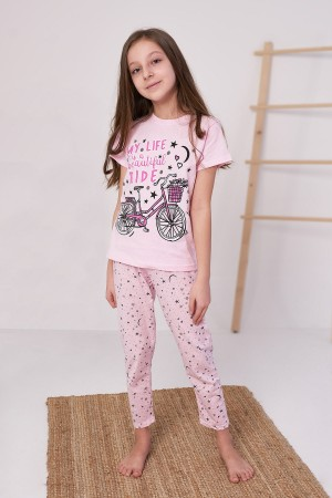 Girls Pajamas Set Cycling Printed Ages 4-6