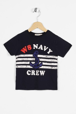 Boys T-shirt Navy Crew Printed