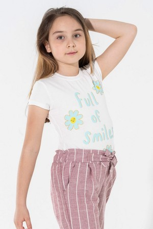 Girl's Tshirt Full Of Smiles Printed Ages 5-8
