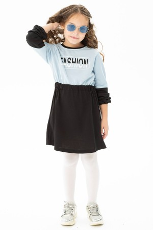 Girl's Fashion Printed Pleated Waist Dress 9-12 Age